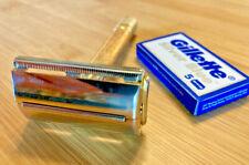 Vintage 1946-1949 GILLETTE MILORD gold tone TTO double edge DE safety razor
