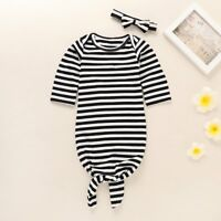 Newborn Baby Girls Long Sleeve Pajamas Sleepwear Set Nightgown Headband Outfits