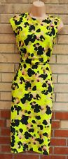 LIME GREEN ABSTRACT FLORAL BLACK CUT OUT SLEEVELESS BODYCON MIDI DRESS 14 16