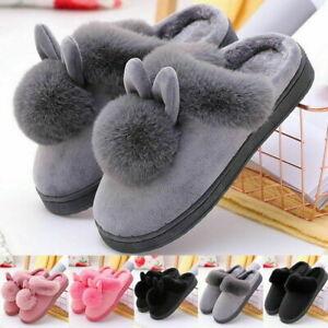 Women Bunny Rabbit Plush Slippers Winter Warmer Indoor Slip On Soft Home  Shoes