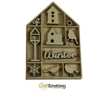 Wooden Mini Shapes Embellishments Toppers Bird House Christmas Home CE321