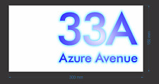 Custom Reflective Blue Aluminum House Number Signs 300mm x 150mm