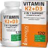 Bronson Vitamin K2 (MK7) + Vitamin D3 Premium Non GMO & Gluten Free 120 Capsules