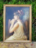 Portrait de femme, huile sur carton signée HARNIST, datée 1923