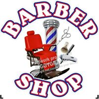"""24"""" X 24""""    VINYL DECAL FOR BARBER SHOP HAIR DRESSER WALL OR WINDOW WHITE TEXT"""