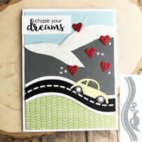 Car Run in Road Metal Cutting Dies Stencil Handcrafts Paper Card Making Decor
