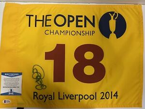 SIGNED GOLF 2014 BRITISH OPEN RORY MCILROY FLAG WINNER BSA BECKETT LIVERPOOL