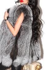 Fabulous real Silver Fox fourrure gilet gilet sans manches veste manteau court M/L luxe!