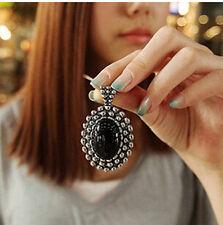 MGCA   Fashion Retro Silver Ellipse Black Jewlery Girls Long Sweater Necklace