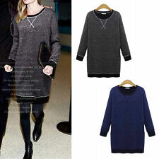 Patternless Long Sleeve Jumper Dresses for Women