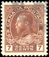 1911-25 Used Canada 7c VF Scott #114 Admiral KGV Stamp