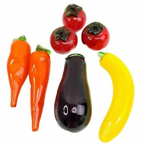 Murano Style Blown Glass Fruits Vegetables Carrot Eggplant Tomatoes Set of 7