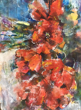 "NEW SERA KNIGHT ORIGINAL ""Flowers Poppies"" Red wild Poppy Mixed Media PAINTING"