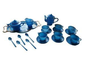 Tea Set Blue Plastic Doll Toy Playset Vintage Serving Platter Cups Spoons Plates