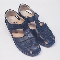 Finn Comfort Funen 2666 Black Leather Women's Sandal T-strap Adjustable Size 6.5