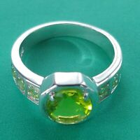 Nuevo Exclusivo Anillo Dedos Auténtico 925 Plata de Ley Circonia Cristales Verde