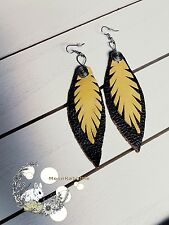 NWOT Leather yellow brown leaf dangle hippie statement feather earrings Portland