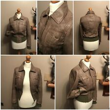 ladies river island leather coat size 8 brown biker style