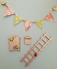  fairy garden accessories, ladder, beehive, bunting & mail box