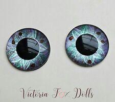 Blythe Doll Realistic Handpainted Purple Blue Green Brown Metallic Eyechips 14mm