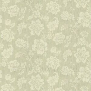 Bambole Casa Crema Motivo Floreale Su Verde Chiaro Tessuto Stile Stampa Parati