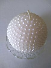 Decorative Candle Round Ball White Unscented Pearl Design With Glass Saucer Dish