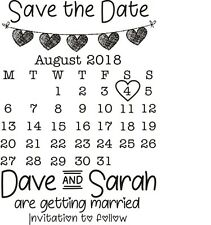 PERSONALISED SAVE THE DATE RUBBER STAMP WEDDING CELEBRATION + FREE BLACK PAD