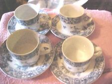 Set of Four (4) IMARI GARDEN BIRD Cups and Saucers VINTAGE BLUE AND WHITE  69