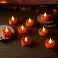 Set of 8 Orange Cobweb Halloween Flameless LED Battery Operated Tealight Candles