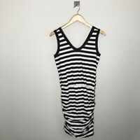New Sundry Womens 2 Medium Black White Striped Ruched Dress Sleeveless V-neck