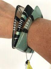 LALO Treasures Aqua, Black and Clear Square Shaped Bracelets. NWT $46.99