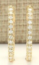 1.00CTW INSIDE AND OUT NATURAL DIAMOND HOOP EARRINGS 14K WHITE/YELLOW GOLD