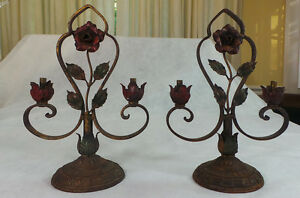 ANTIQUE WROUGHT IRON L.D.B. & CO. PAIR LAMP FIXTURES 1920 's ROSE DESIGN