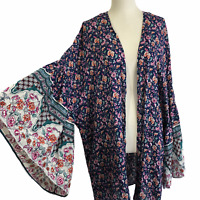 GiGiO Umgee Kimono Top Large Navy Blue Floral Romantic Bell Sleeves Cottage Core