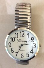 SILVER SUPER LARGE FACE GENEVA STRETCH BAND FASHION WATCH EASY TO READ DIAL NEW!