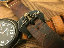 24 mm bronze watch buckle.Handmade ,Scull&Rose .Forced patina.Panerai heritage .