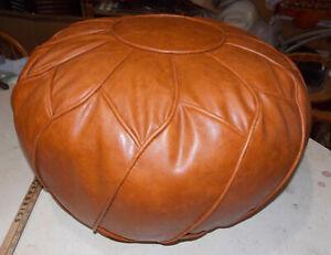 Brown Vinyl Pouf Footstool / Ottoman