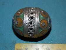 34mm Moroccan Berber Silver Egg Enamel Handmade Artisan Necklace Bead African