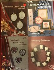 Lot of 4 Candlewicking & Embroidery Project Books Leisure Arts + Christmas