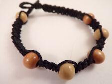 Men's Wood Beaded Macrame Hemp Loop Closure Bracelet #5 7 Inches