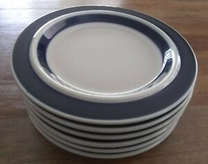 "6 Arabia Finland - Anemone blue - salad plates 8"" GREAT condition!"