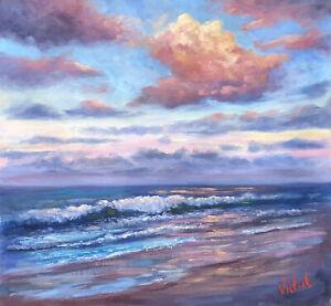 Original Landscape Oil Painting last light Coolum Beach, QLD