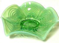 Vintage Fenton Art Glass Willow Green Opalescent Drapery Candy Trinket Dish