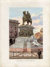 Stampa antica MILANO PIAZZA DUOMO MONUMENTO VITTORIO EMANUELE II 1905 Old Print