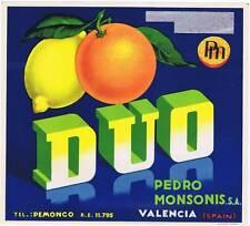 Duo original  Spanish orange  crate label