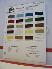 1974 Plymouth Valiant Duster Satellite Barracuda Paint Chips Color Chart R-M 74