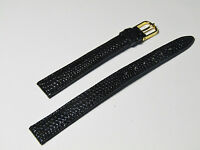 12mm Black Lizard Embossed Leather Watch Band!