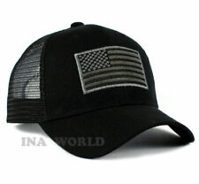 USA American Flag Hat Tactical Operator Snapback Mesh Trucker Baseball Cap-Black