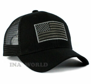 USA American Flag Hat Tactical Operator Snapback Mesh Trucker Baseball Cap-Black