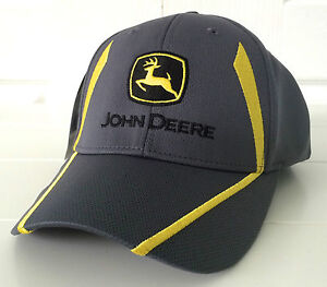 John Deere Gray Fabric Hat Cap w Cool Yellow Embroidered Details & Stretch Fit
